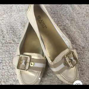 Franco Sarto cream/gold leather flats